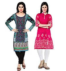 Vaamsi Women's PolyCotton Unstitched 2 Kurti Fabric(CKF1042_Multi-Coloured_Free Size)