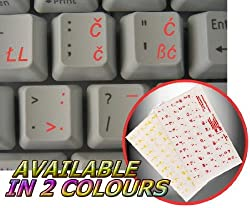 SLOVENIAN / CROATIAN KEYBOARD STICKERS WITH RED LETTERING ON TRANSPARENT BACKGROUND