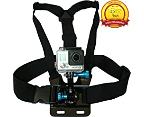 Chest Mount Harness for GoPro Cameras - Adjustable Body Strap Rig + 3-Way Adjustment Base - Fits ALL GoPro Models, HERO3+ Black Edition, HERO3, HERO2, HERO1 etc. - By Premium Accessories Brand Nordic Flash™ - 1 Year Warranty