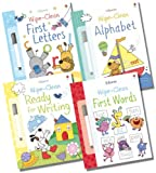 Usborne Wipe-clean Literacy Collection - 4 Books RRP £19.96 (First Words; Ready for Writing; Alphabet ; First Letters) Felicity Brooks
