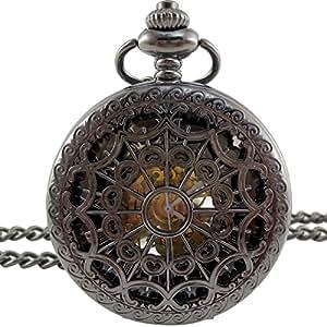[モノジー] MONOZY アンティーク 手巻き 機械式 懐中時計 - メタル メッシュ - 【収納袋 化粧箱】 両面 スケルトン レトロ 懐中時計
