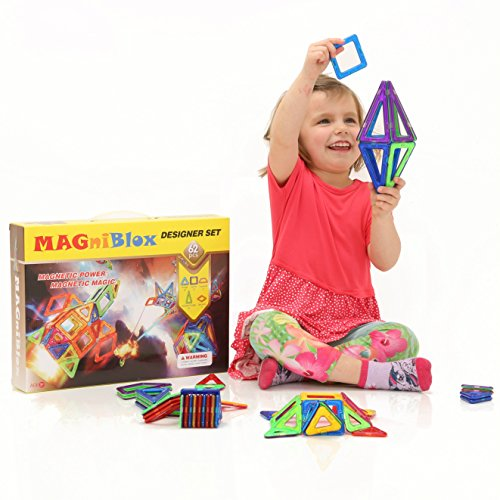 MAGniBlox® Magnetic Building Tiles for Toddlers, Preschoolers & Kids of All Ages - 62