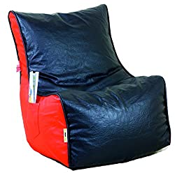Bean Chair XXL (Cover Only) Art Leather Red + Black (Front Height-15, Front width-24.5, Back Height-34, Depth-17 )