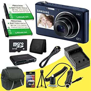 Samsung DV150F 16.2MP Smart WiFi Digital Camera with 5x Optical Zoom and 2-Inch front and 3-Inch Rear Dual LCD Screens (Black) + Two BP-70 Replacement Lithium Ion Batteries + External Rapid Charger + 64GB microSD Class 10 Memory Card + Micro HDMI Cable + Carrying Case + Multi Card USB Reader + Memory Card Wallet + Deluxe Starter Kit DavisMax Bundle
