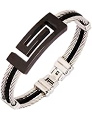 The Jewelbox Surgical Stainless Steel Black Openable Bracelet Kada For Men