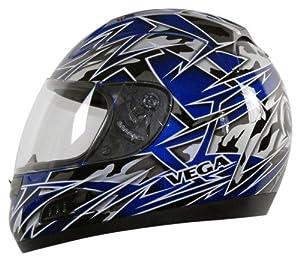 Vega Altura Havoc Graphic Full Face Helmet (Blue Metallic, Medium)