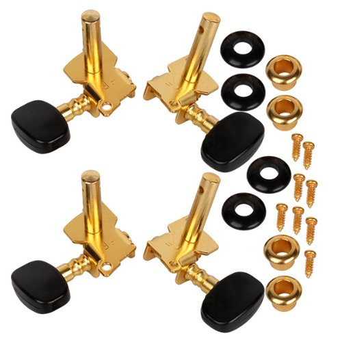 Generic Gold-Plated 2R2L Tuning Peg Machine Head Tuners For Ukulele 4 String Guitar a set gold sealed gear electric acoustic guitar tuning pegs keys tuners machine heads big semicircle buttons