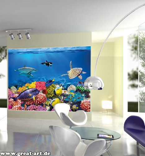 undersea coral reef photo wall paper aquarium fish sea