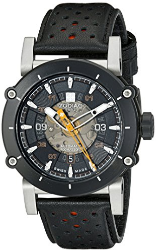 Zodiac-Mens-ZO8572-ZMX-2-Black-Stainless-Steel-Watch-with-Black-and-Red-Band