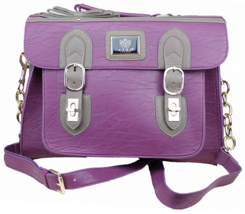 Exoticglitter LYDC Hand Houlder Bag Purple Satchel Vintage Messenger Briefcase Laptop Bag