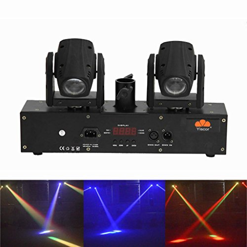 Yiscortm Stage Lighting Led Beam Light Rgbw 4In1 Cree 2 Moving Heads Dmx512 For Disco Dj Club Home Garden Wedding Party Effect (Pack Of 1)