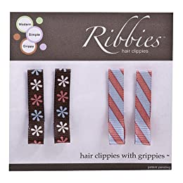 Ribbies Clippies Hair Clip 4-pk. - Floral/ Stripes