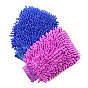 House Cleaning, Car Washing and Home Dusting Microfiber Mitts from Tiggsha, Two-Pack, Wash Clean Polish Faster Now