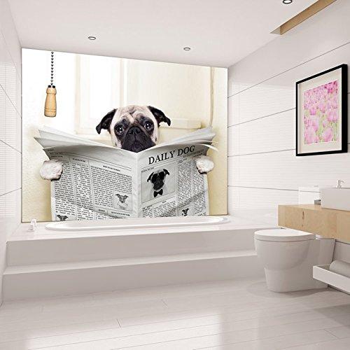 Pug dog reads papier sur toilettes dr le animal peint for Salle de bain xxs
