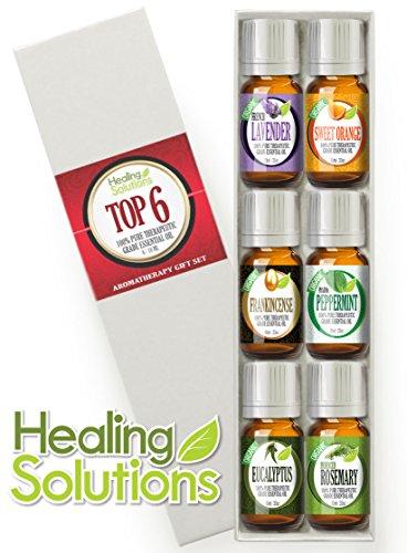 Aromatherapy Top 6 (Organic) 100% Pure Therapeutic Grade Basic Sampler Essential Oil Gift Set- 6/10 Ml (Lavender, Frankincense, Eucalyptus, Rosemary, Sweet Orange, Peppermint Pharma Grade) Best Kit Under The Sun
