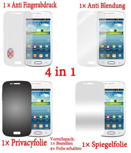 Pellicola protettiva per Samsung Galaxy ACE 2 I8160 (4 pezzi) - pellicola trasparente di protezione frontale. Specchio, trasparente, anti impronta digitale, privacy