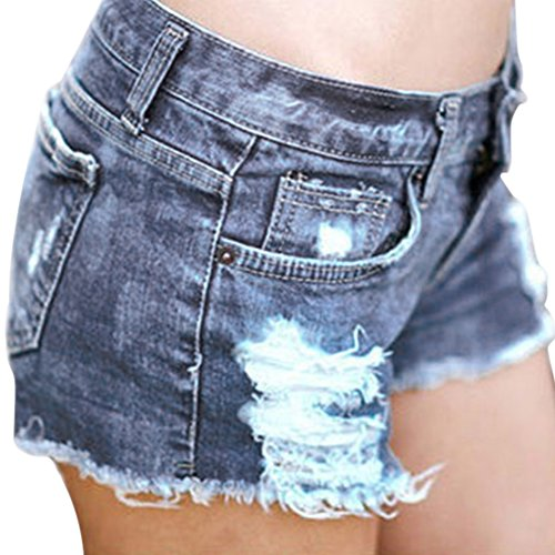 Lisli® Women Distressed Ripped Hole Denim Jeans Shorts Pants Hot Mini Shorts (M(Asian L)) Denim Cut Off Shorts