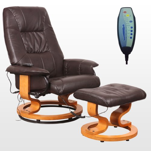 tuscany leather swivel recliner massage chair w foot stool a