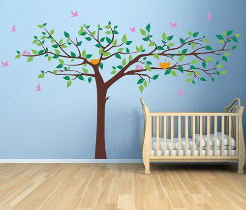 Pop Decors Removable Vinyl Art Wall Decals Mural for Nursery Room, Colorful Super Big Tree - 1