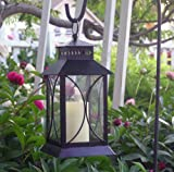 Dark Antique Bronze Metal Indoor/Outdoor Lantern with Flameless Pillar Candle
