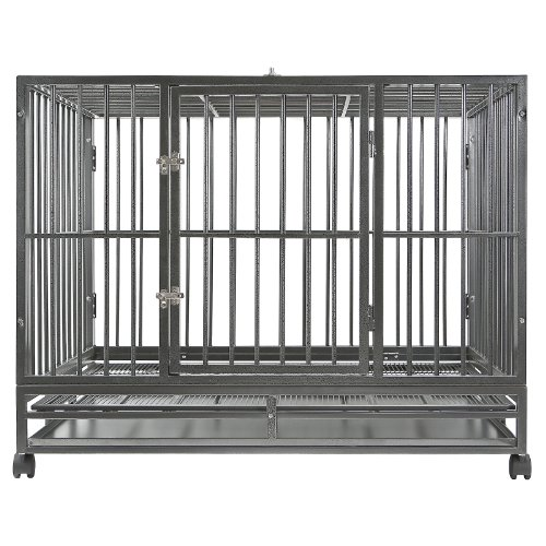 "Smithbuilt - Heavy Duty Dog Or Animal Cage W/ 2 Doors & Metal Tray Pan - 48"" Length - Silver"