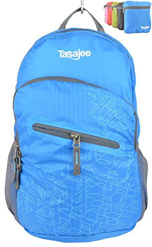 Packable Daypack - Ultralight Foldable Backpack for Hiking, Travel, Backpacking, Biking, Camping - Small, Lightweight, Water Resistant, Unisex, Folds Up into Carry Pouch - 45 Day Full Money Back Satisfaction Guarantee - Tasajee (Australia).