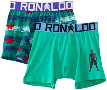CR7 Cristiano Ronaldo Boy's 2 Pack Trunk Starred Boxer Brief, Green (Green/Blue), One Size (Manufacturer Size:13/15)