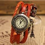 アンティーク風 エッフェル塔付き 3種ベルト レザー ブレスレット腕時計 (オレンジブラウン)