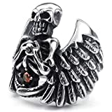Adisaer Stainless Steel Mens Rings Retro Vintage Bands Angel Wing Skull Cubic Zirconia Red Size 8
