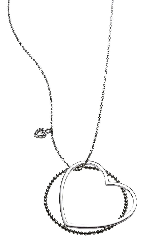 caï Jewels Damen-Collier Herz 925 Sterlingsilber weiß schwarz rhodiniert Zirkonia schwarz 90 cm C1189N/90/43/90