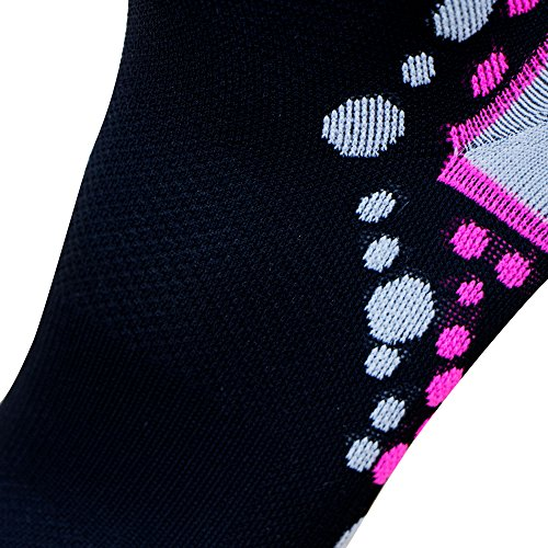Ultra-Comfortable Running Socks - Anti-Blister Dot Technology, Moisture Wicking (S/M, Black/Neon Pink)