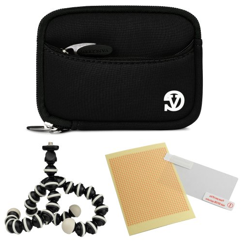 Vangoddy Mini Glove Sleeve Pouch Case For Canon Powershot Elph 140 Is, 135, 340 Hs, 115 Is, 130 Is, 520 Hs, 310 Hs, 510 Hs, 100 Hs, 300 Hs, 500 Hs Digital Cameras (Black) + Screen Protector + Mini Tripod Stand