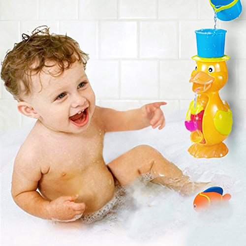 FUNERICA Fun Duck Bath Toy for Toddler/Baby/Kids Ages 1 - 7. Bright Colors - Interactive and Fun - Educational Bathtub Toy for Girls & Boys! Included Bonus: Little Water-squirting Fish (Winnie The Pooh Pack N Play compare prices)