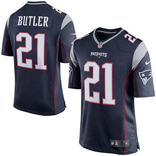 Malcolm Butler Navy Blue Game 21 Player Men's Short Sleeve T-Shirt 2016-17 Season Game Jerseys Red Size XL(48)