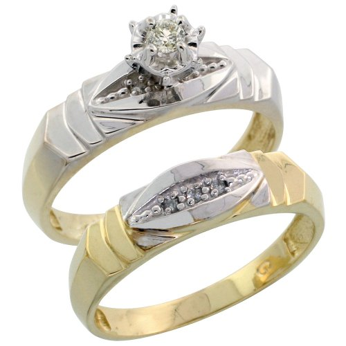 Sterling Silver (Gold Plated) 2-Piece Diamond Engagement Ring Set, w/ 0.06 Carat Brilliant Cut Diamonds, 3/16 in. (5mm) wide, Size 5.5