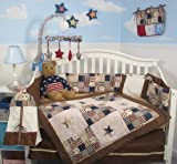 SoHo American Khaki & Brown Suede Crib Nursery Bedding Set 10 pieces