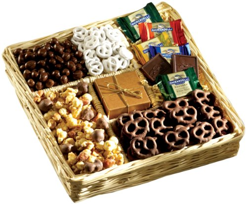 Broadway Basketeers Deluxe Chocolate and Nut Collection Gourmet Snack Gift Basket