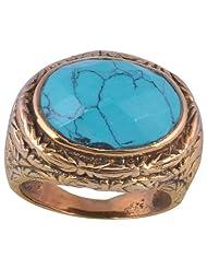 Metal Ring With Natural Turquoise - B00KILFQAU