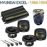 Hyundai Excel 1986-1994 OEM Speaker Replacement Harmony (2) R4 & CX300.4 Amp