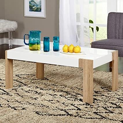 Smart Coffee Table, White/Natural