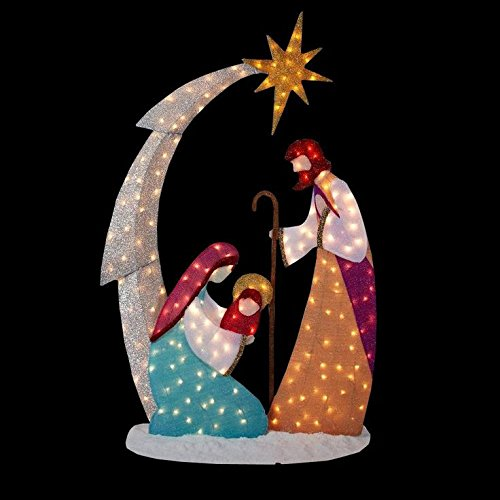 Nativity scene lighted yard displays christmas wikii for 30 lighted nativity christmas window silhouette decoration