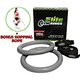 Heavy Duty Gym Rings with Quality Buckle and Straps (that DON'T Slip). Includes a BONUS Skipping Rope - Highly Rated Gymnastic Set Because They Work - Fantastic Reviews.