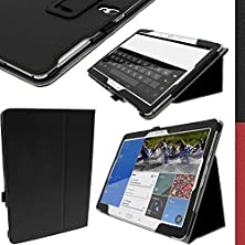 """buy Igadgitz Premium Folio Black Pu Leather Case Cover For Samsung Galaxy Tab S 10.5"""" Sm-T800 With Auto Sleep/Wake + Stylus Pen Elastic Holder + Multi-Angle Viewing Stand + Screen Protector"""