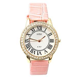 Pink Rome Digital Wrap Around Leather Alloy Analog Quartz Wrist Watches Fashion Unisex Men Women Lady Girls Bracelet Wrist Watch