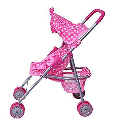 Precious Toys Pink & White Polka Dots Foldable Doll Stroller With Hood from Homeco