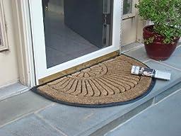 Coco Fiber Half Round In-Laid Doormat 18 x 30 Inch