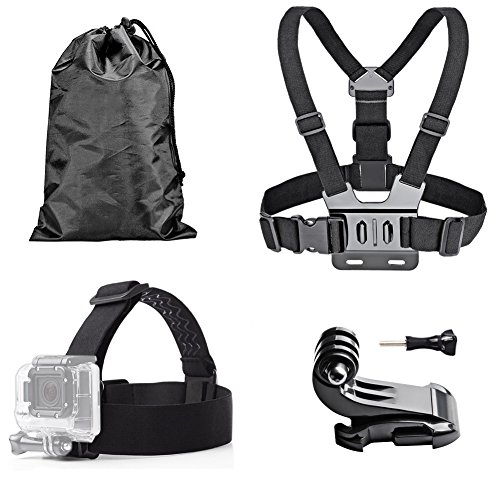 TEKCAM Head Strap Mount+ Chest Belt Strap Harness Mount+Aluminum Thumbscrew+J-Hook for Action Waterproof Cam