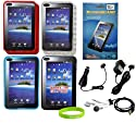 CrazyOnDigital 10 Item TPU Case Accessory Bundle for Samsung Galaxy Tab P1000 Tablet