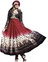 Exotic India Designer Printed Choodidaar Suit With Embroidered Flowers And Flair