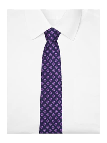 Yves Saint Laurent Men's Floral Silk Tie, Navy Blue/Purple